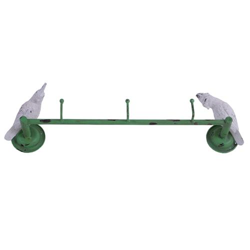 Cabideiro Decorativo - 3 Ganchos - Cacatuas em Metal - 52x12 cm