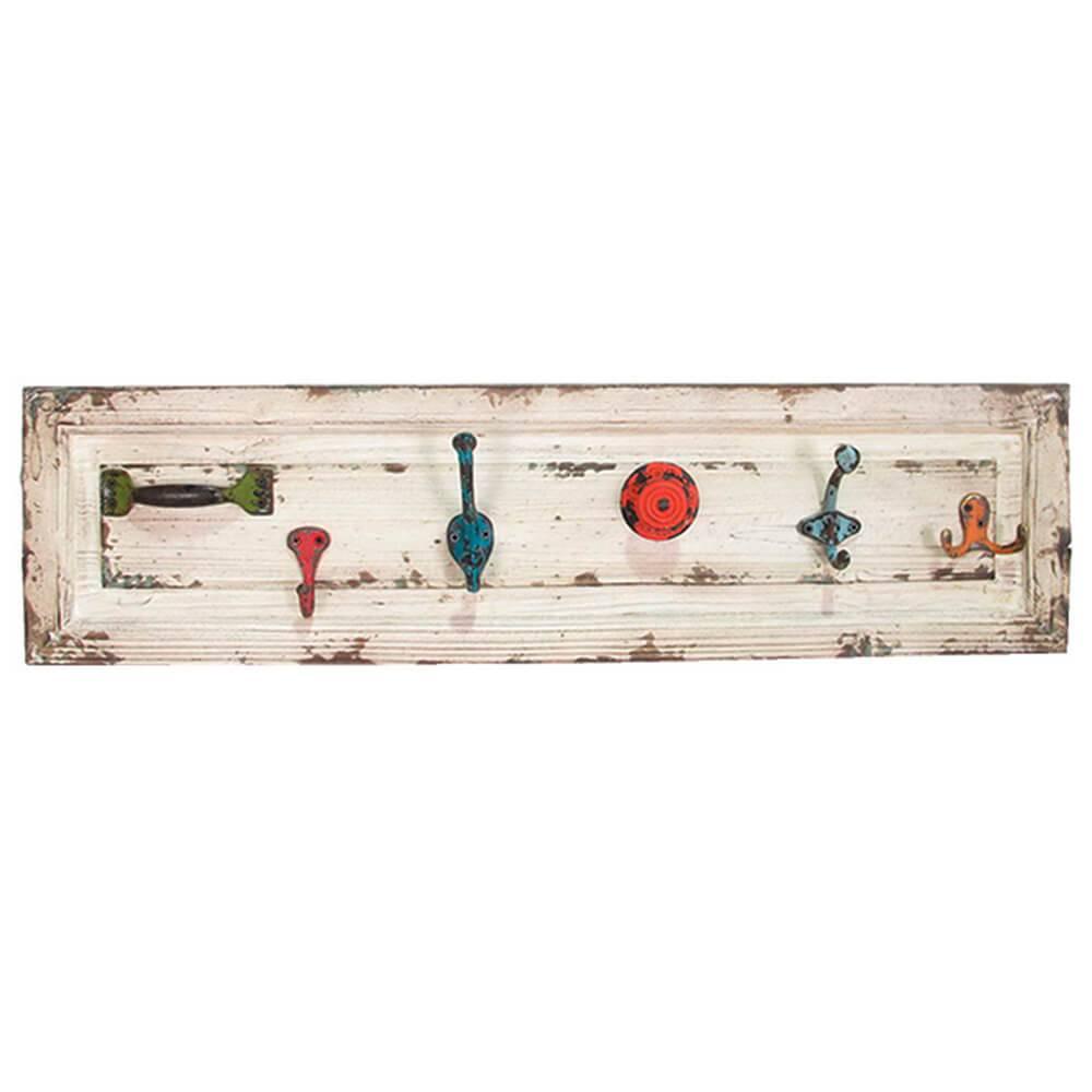 Cabideiro Drawer Back 6 Ganchos Coloridos em Madeira e Metal - Urban - 75,5x20 cm