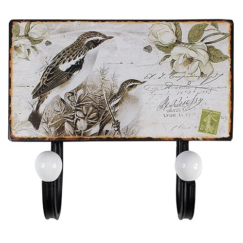 Cabideiro Duplo Pássaros Oldway - Metal - 23x20 cm