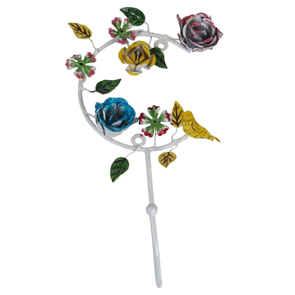 Cabideiro Flores e Pássaro - 1 Gancho - Colorido em Metal - 31x16 cm