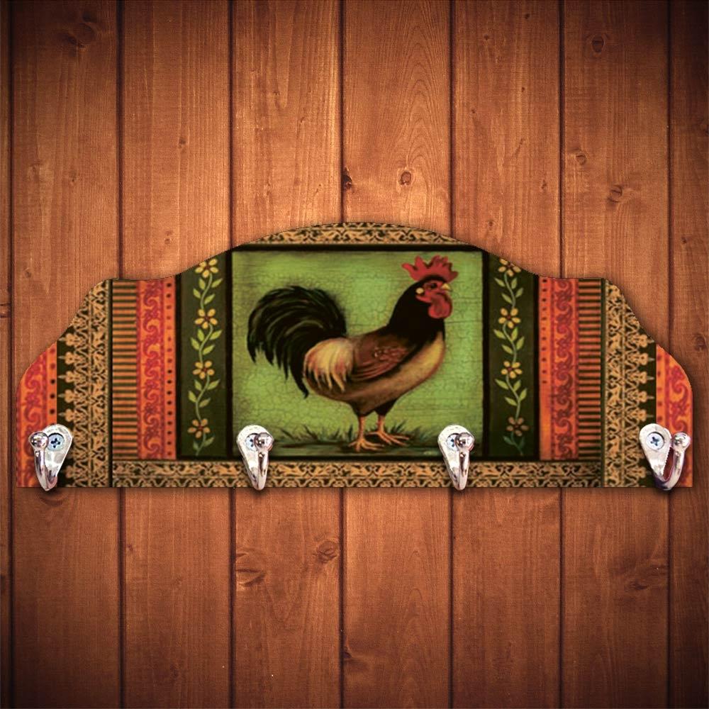 Cabideiro Galo Patchwork - 4 Ganchos - em Madeira - 40x15 cm