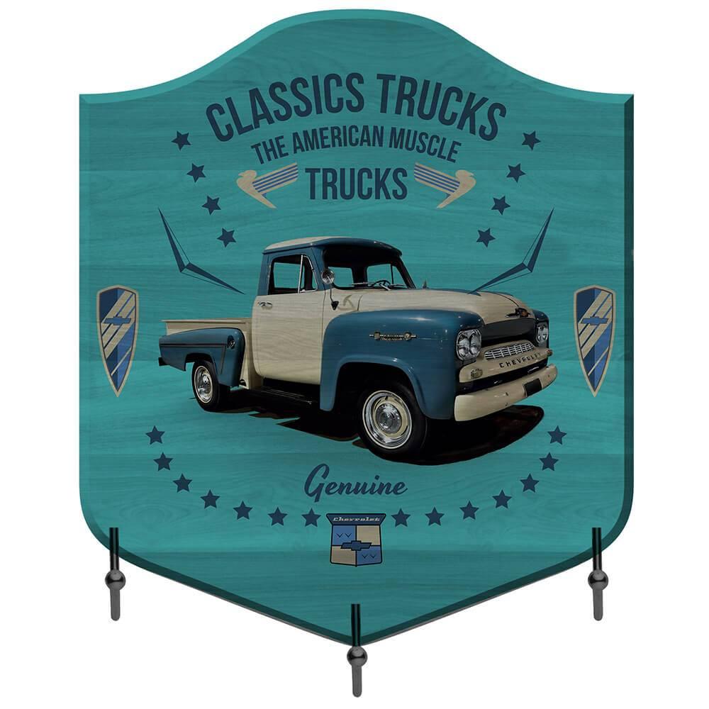 Cabideiro GM Classic Trucks Fundo Azul em Madeira - Urban - 26x25 cm
