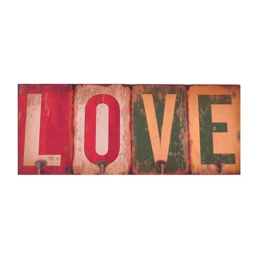 Cabideiro Love Envelhecido em Madeira - 60x24 cm