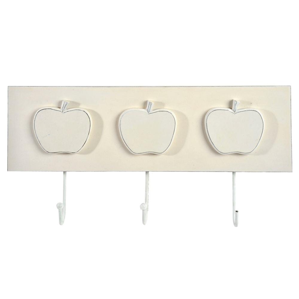 Cabideiro Maça Branco - 3 Ganchos - em Madeira - 39x13 cm