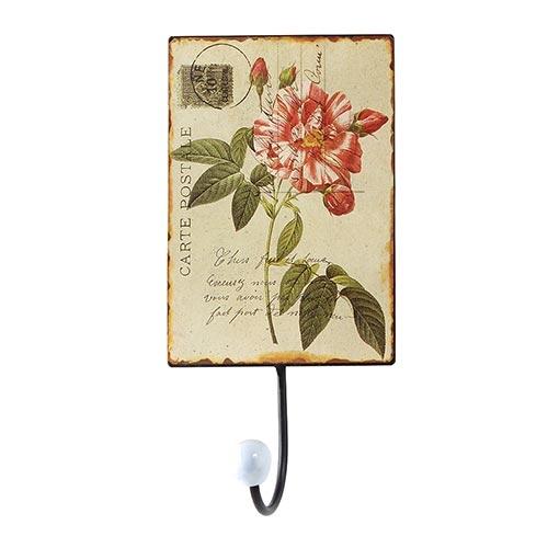 Cabideiro Metal Cartão postal Flor/Folhas 1 Gancho - Oldway - 25x13 cm
