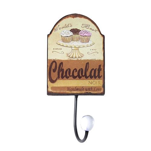 Cabideiro Metal Chocolate 1 Gancho - Oldway - 22x10 cm