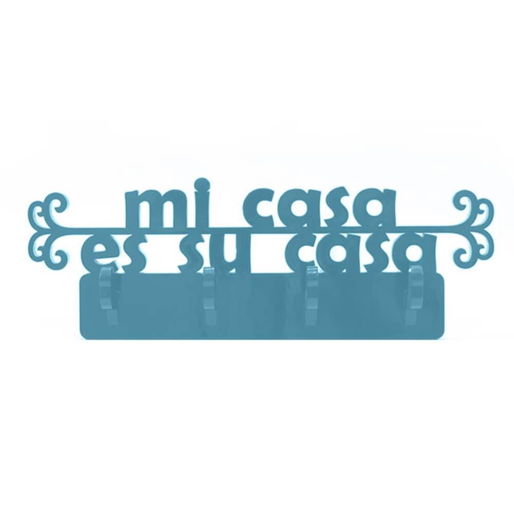 Cabideiro Mi Casa Es Su Casa - 4 Ganchos - em MDF Laqueado Azul Aquamarine - 42x14 cm