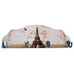Cabideiro Monumentos Paris em Madeira - 4 Ganchos - 40x15 cm