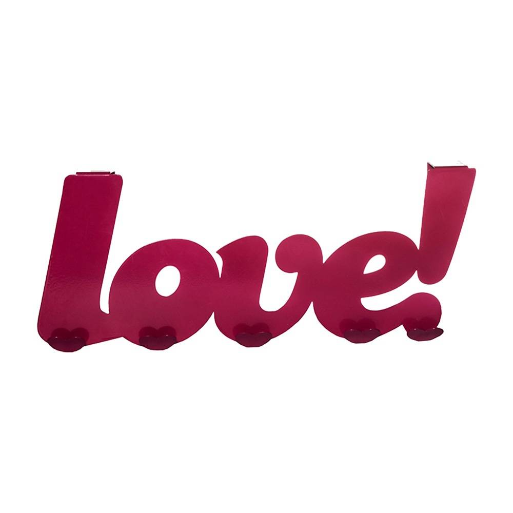 Cabideiro Palavra Love com 5 Ganchos Pink em Metal - Urban - 45x18 cm