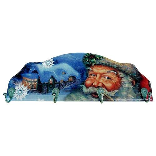 Cabideiro Papai Noel em Madeira - 4 Ganchos - 40x15 cm