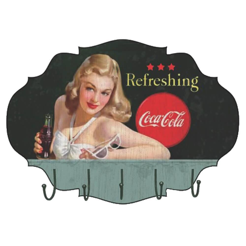 Cabideiro de Parede Coca-Cola Blond Lady With Sunglasses Colorido em MDF - Urban - 45,5x32 cm