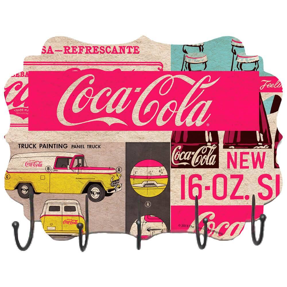 Cabideiro de Parede Coca-Cola Bottles And Yellow Car Colorido em MDF - Urban - 41x30 cm