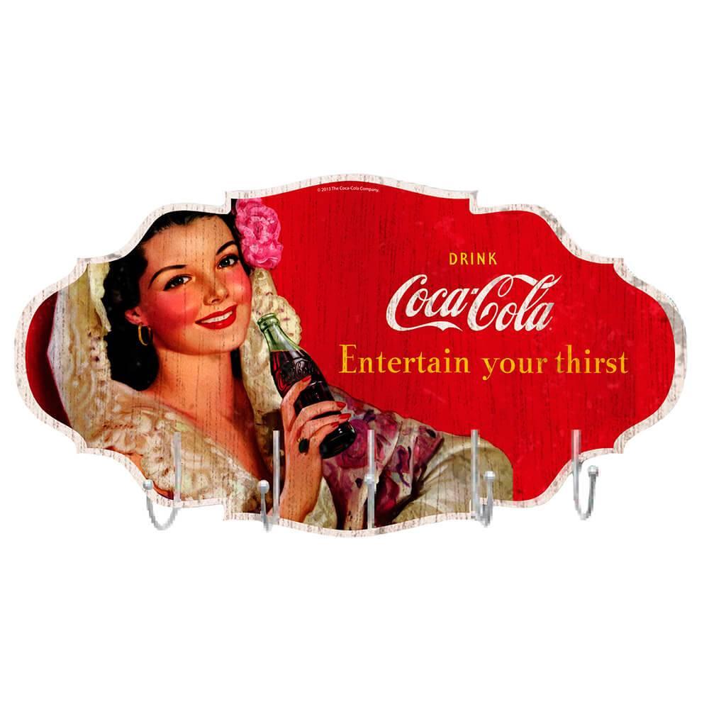 Cabideiro de Parede Coca-Cola Brunette Lady Colorido em MDF - Urban - 48x26 cm