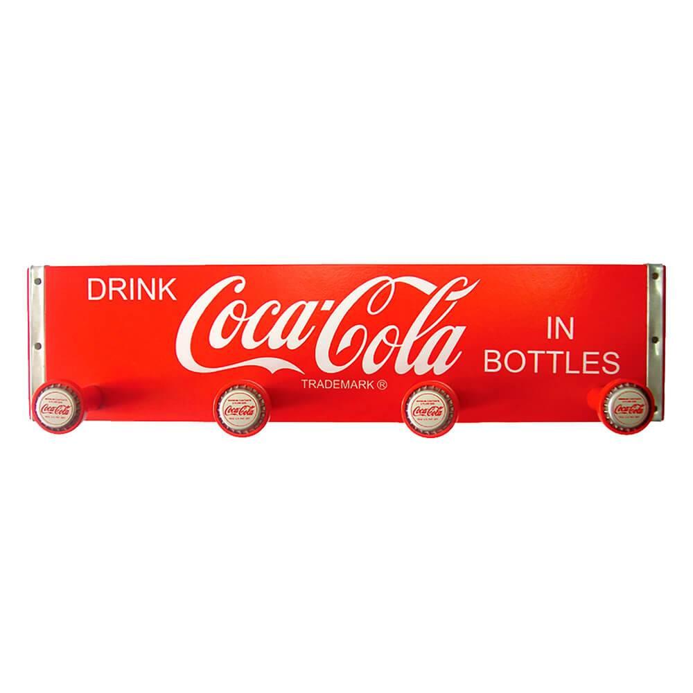 Cabideiro de Parede Coca-Cola Retangular Tampinha Vermelho em Madeira - Urban - 47x11,5 cm