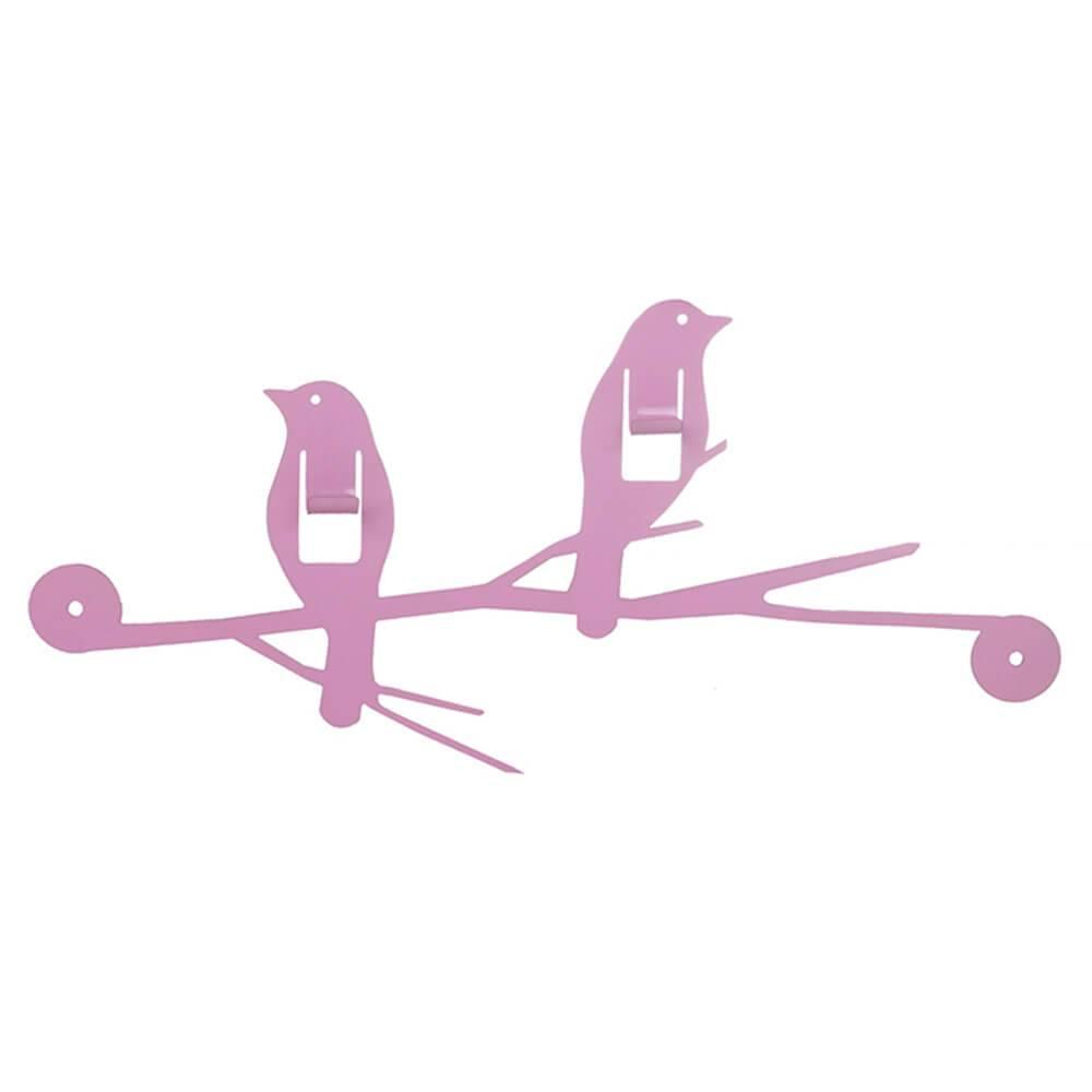 Cabideiro Passarinhos Pink em Ferro - Urban - 34x16,5 cm