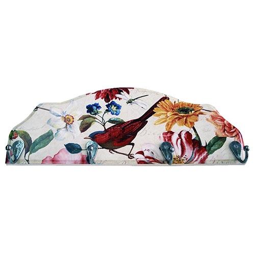 Cabideiro Pássaro e Flores Coloridas em Madeira - 4 Ganchos - 40x15 cm