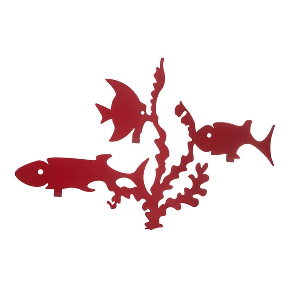 Cabideiro Peixes Vermelho em Ferro - Urban - 38x26 cm