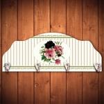 Cabideiro Quatro Rosas Fundo Listrado - 4 Ganchos - em Madeira - 40x15 cm
