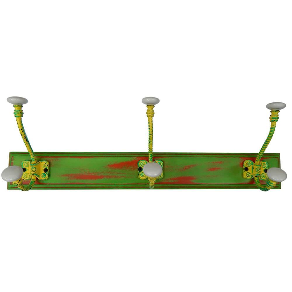 Cabideiro Rebar Hook Amarelo e Verde em Madeira e Ferro - Urban - 40x15 cm
