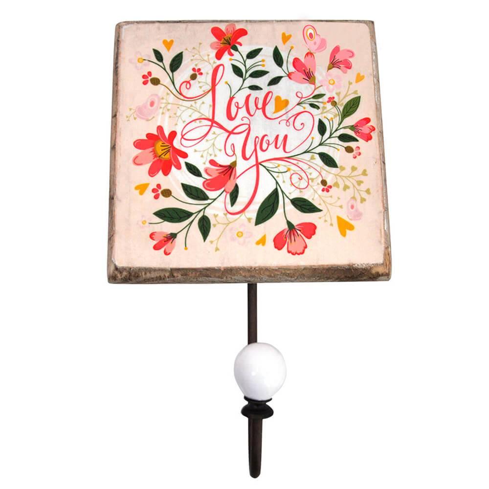 Cabideiro Romance Flowers Love You Rosa em Madeira e Metal - Urban - 21x14 cm