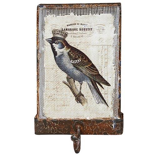 Cabideiro Rústico com Tela Pássaro Coroa Oldway - 15x10 cm