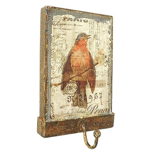 Cabideiro Rústico com Tela Pássaro Oldway - 15x10 cm