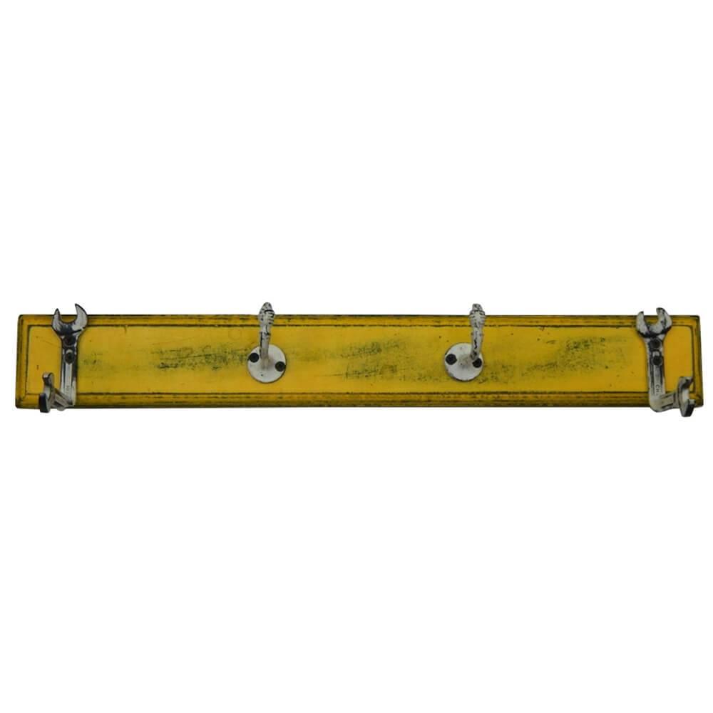 Cabideiro Tools Amarelo e Branco em Madeira e Ferro - Urban - 56x13 cm