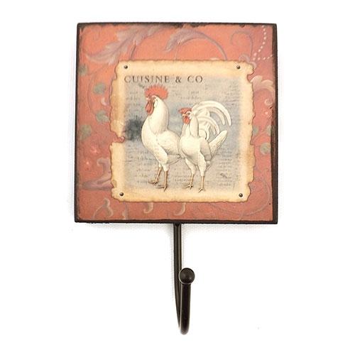 Cabideiro Vermelho com Figura de Galos em Madeira - 18x12 cm