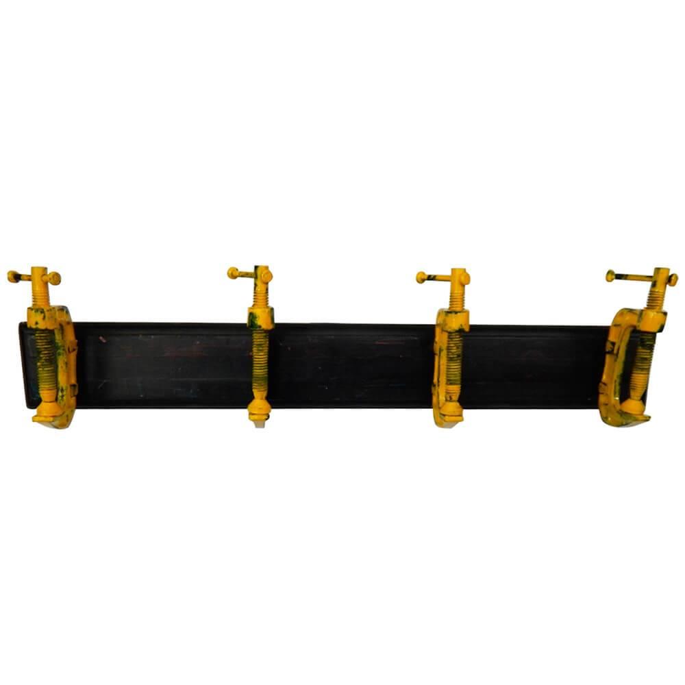 Cabideiro Wrench Tool Preto e Amarelo em Madeira e Ferro - 56x13 cm