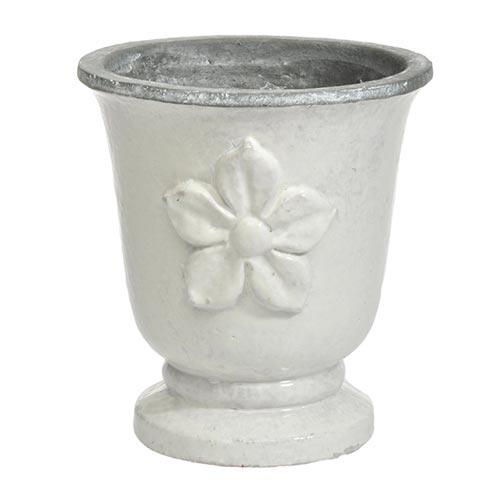 Cachepô Bell Branco Médio em Cerâmica - 20x18 cm
