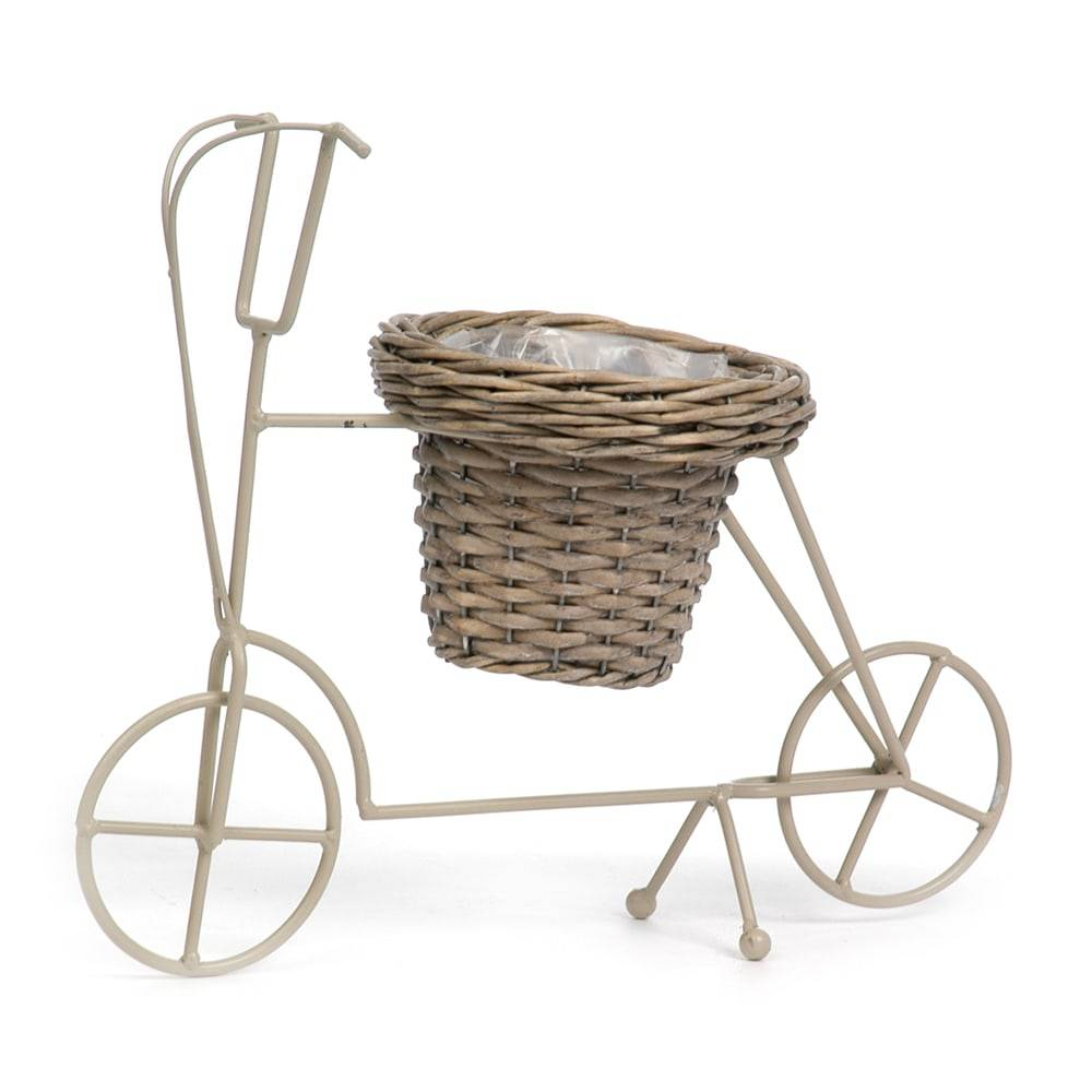 Cachepô Bicicleta Bege em Ferro e Vime - 43x23 cm
