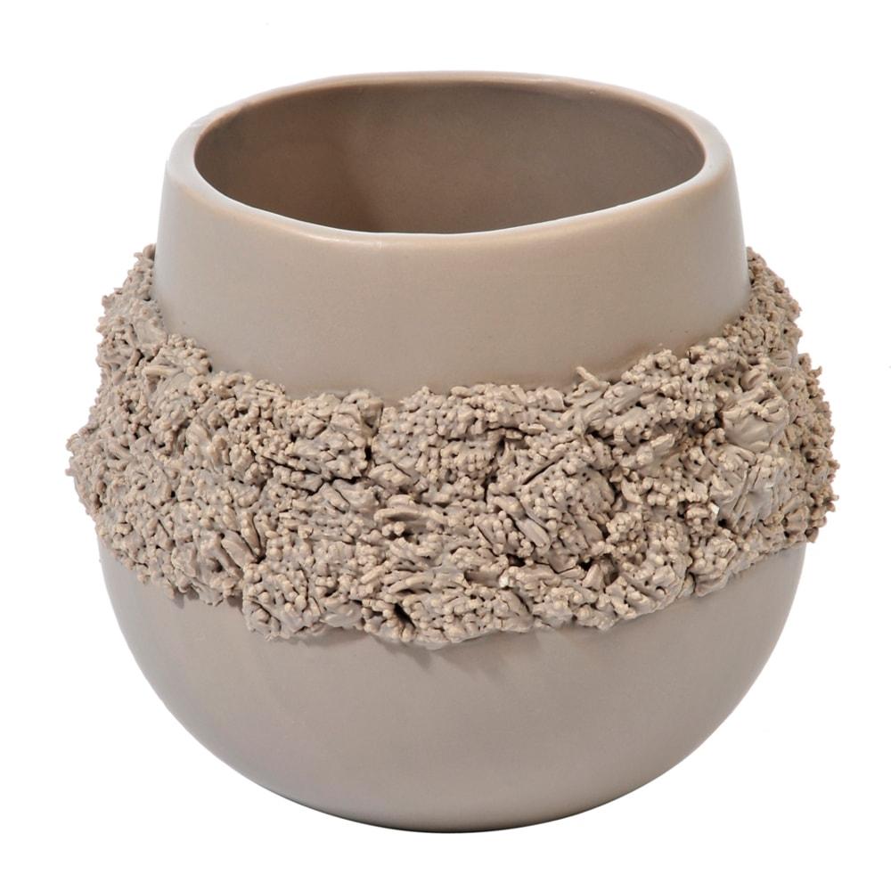 Cachepô Bola Texture Bege Grande em Cerâmica - 18x16 cm