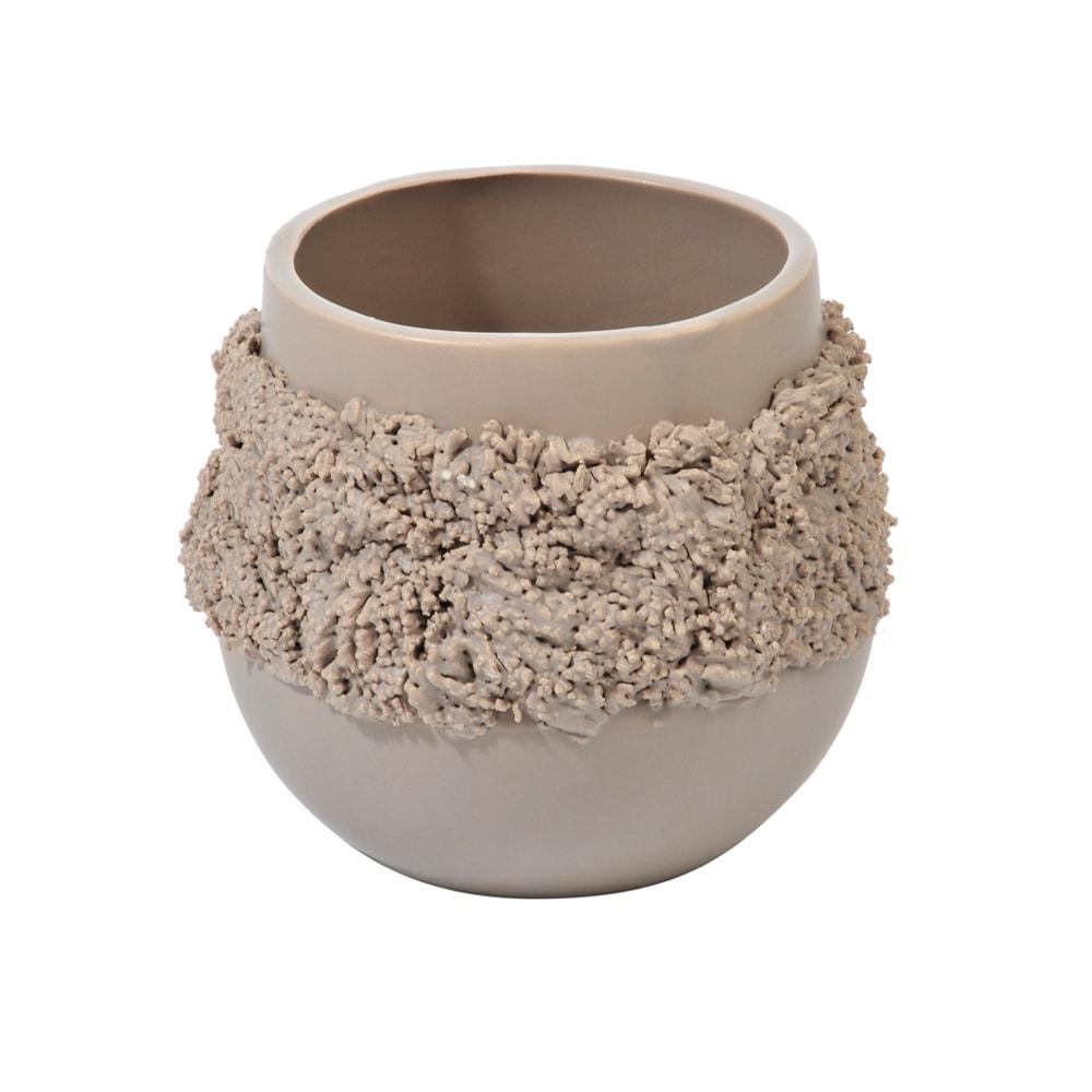 Cachepô Bola Texture Bege Pequeno em Cerâmica - 15x13 cm