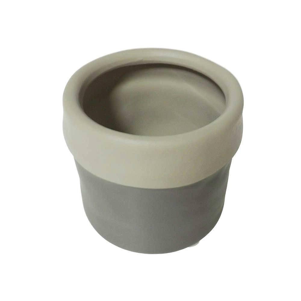 Cachepô Border Cinza/Bege em Cerâmica - 8x7 cm