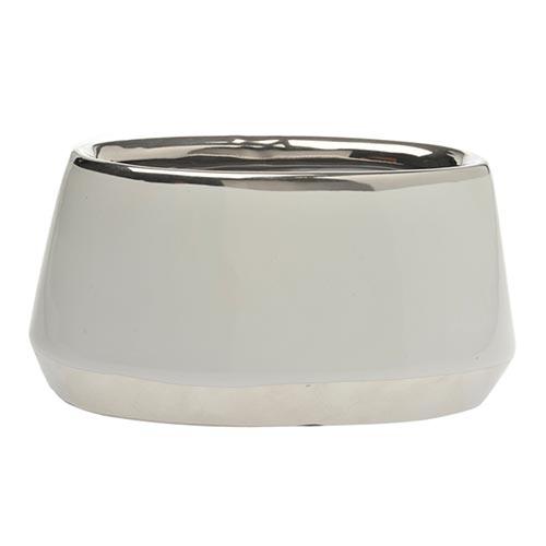Cachepô Branco Oval Pequeno em Cerâmica - 19x11 cm