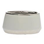 Cachepô Branco Oval Pequeno em Cerâmica