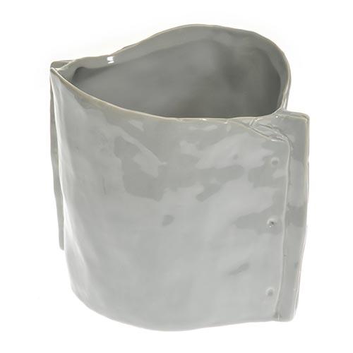 Cachepô Cinza Modelado em Cerâmica - 20x17 cm