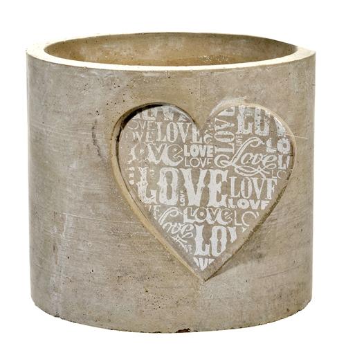 Cachepô Coração Bege Médio em Cerâmica - 15x13 cm