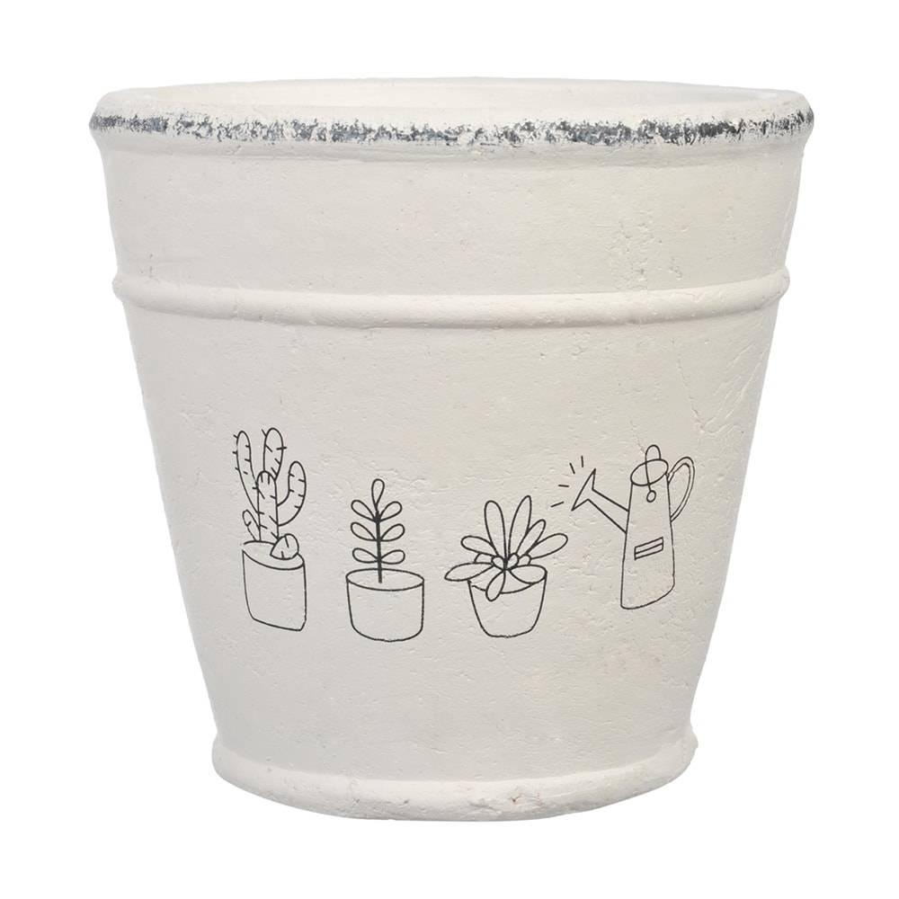 Cachepô Drawing Médio Branco em Cerâmica - 18x18 cm