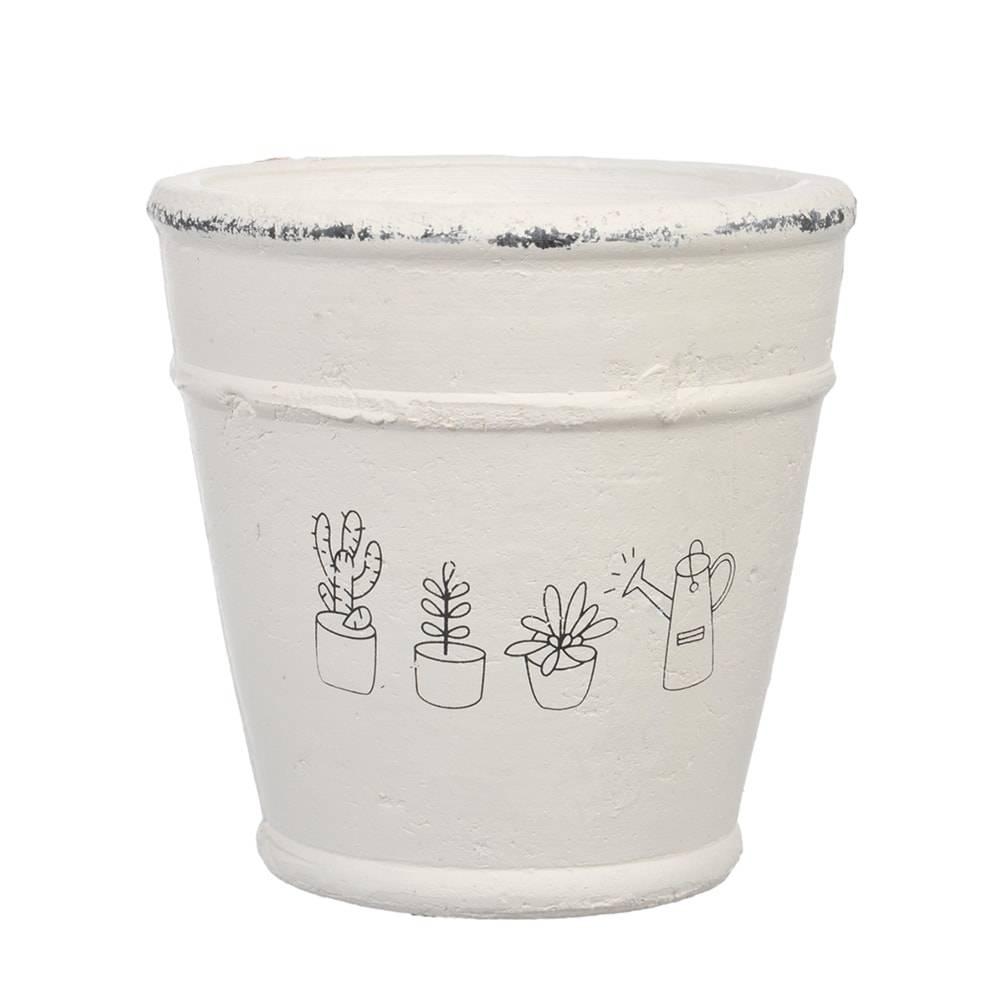Cachepô Drawing Pequeno Branco em Cerâmica - 14x14 cm