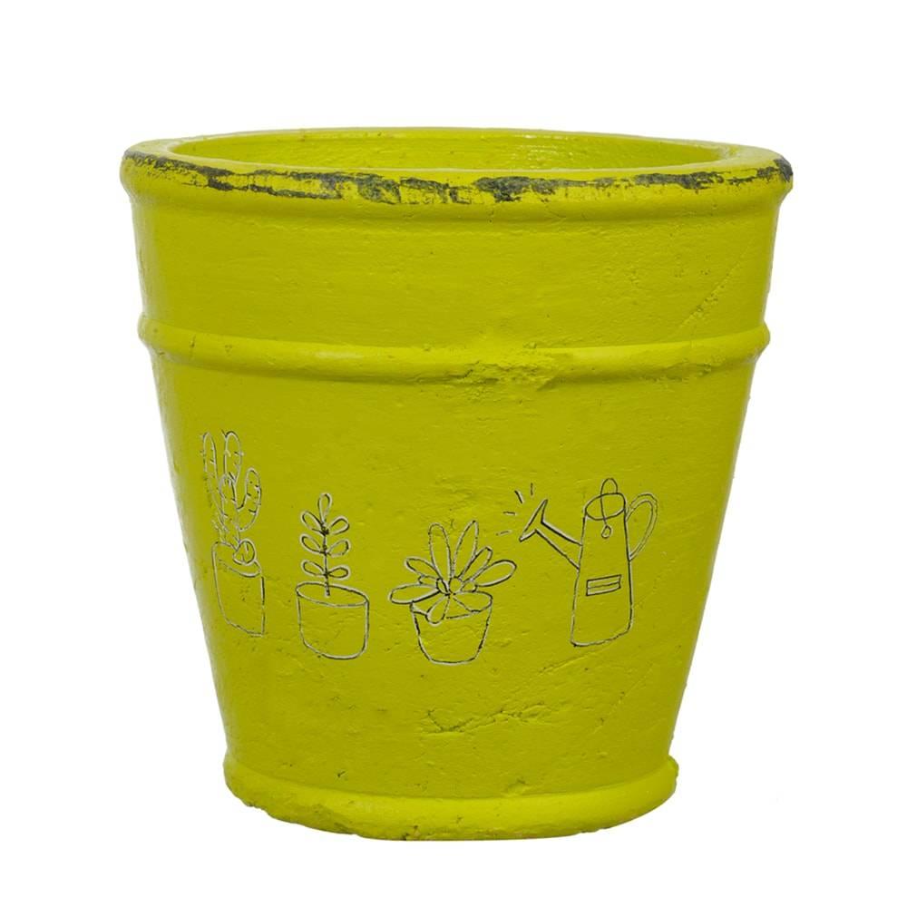 Cachepô Drawing Pequeno Verde em Cerâmica - 14x14 cm