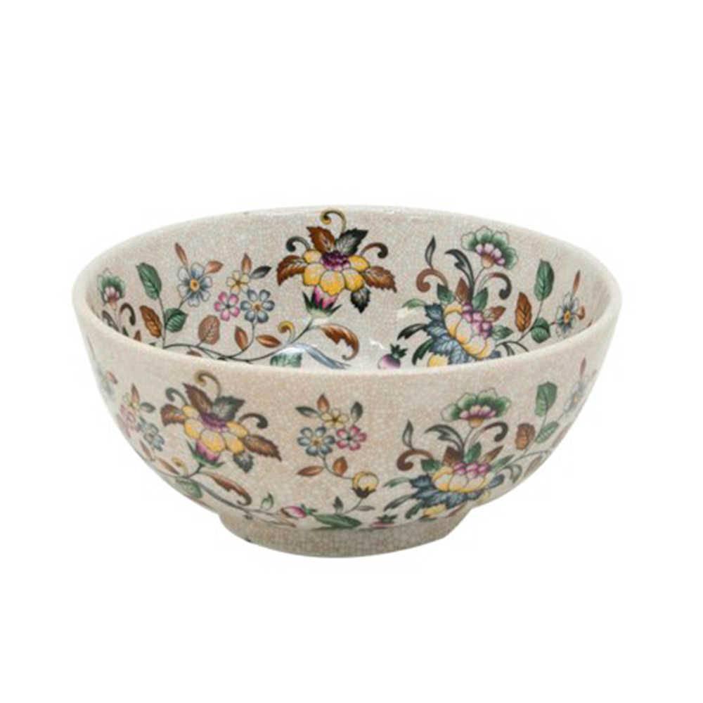 Cachepô Floral Colorido em Porcelana - 25x11 cm