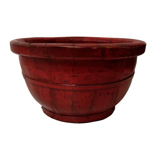 Cachepô Jinan Vermelho em Madeira - 34x34 cm