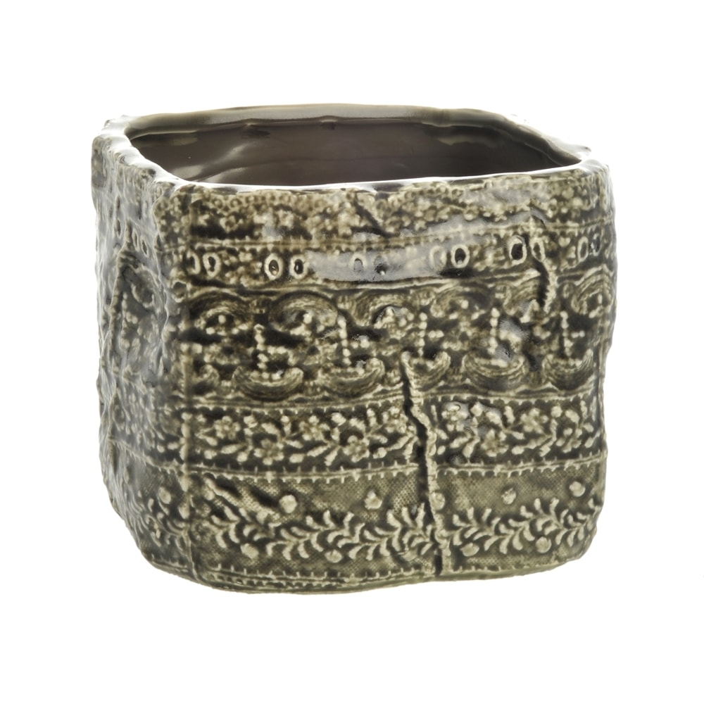 Cachepô Quadrado Border Grande Verde em Cerâmica - 15x12 cm