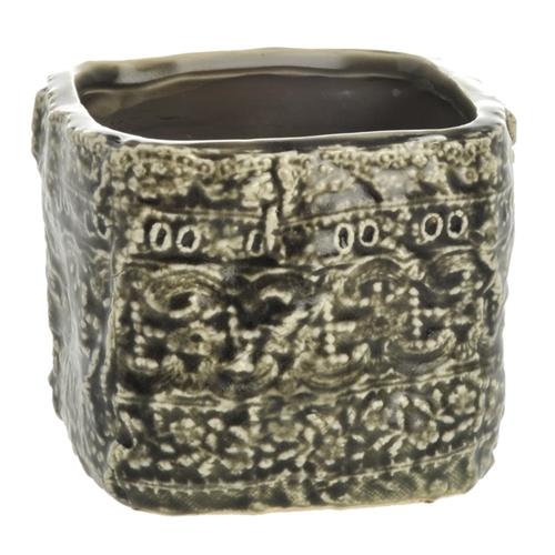 Cachepô Quadrado Border Médio em Cerâmica - 11x10 cm