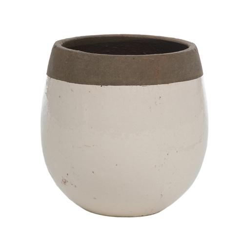 Cachepô Redondo Creme/Marrom Médio em Cerâmica - 16x16 cm