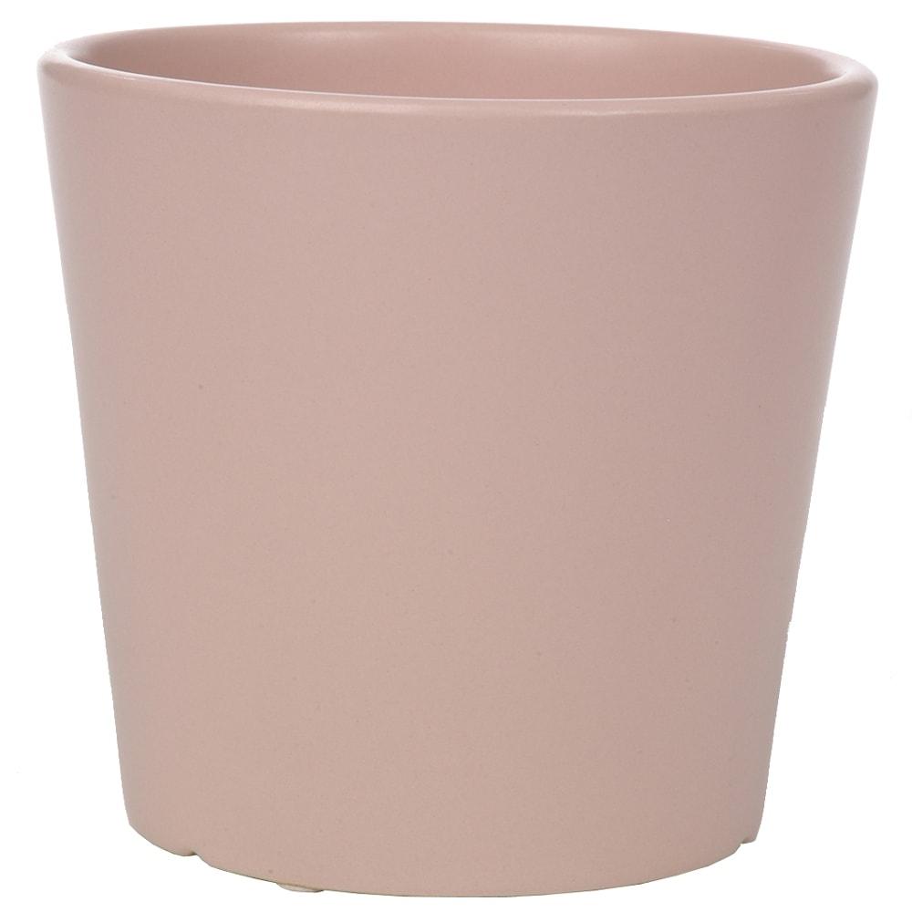 Cachepô Redondo Rosa em Cerâmica - 14x13 cm