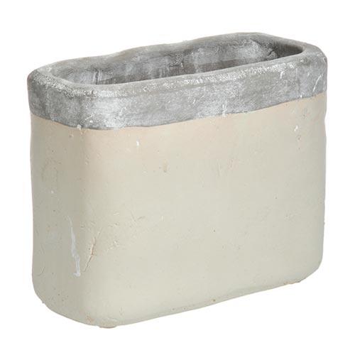 Cachepô Retangular Bege/Cinza em Cerâmica - 21x17 cm