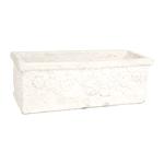 Cachepô Retangular Branco em Cerâmica