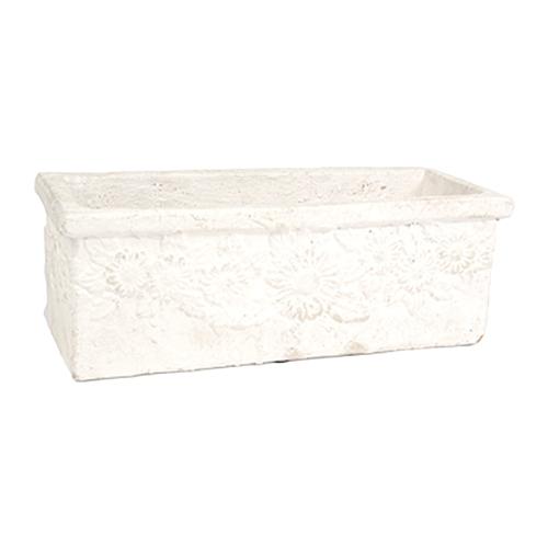 Cachepô Retangular Branco em Cerâmica - 14x7 cm